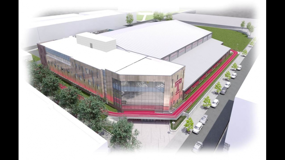 Aerial renderings of student training and recreation complex