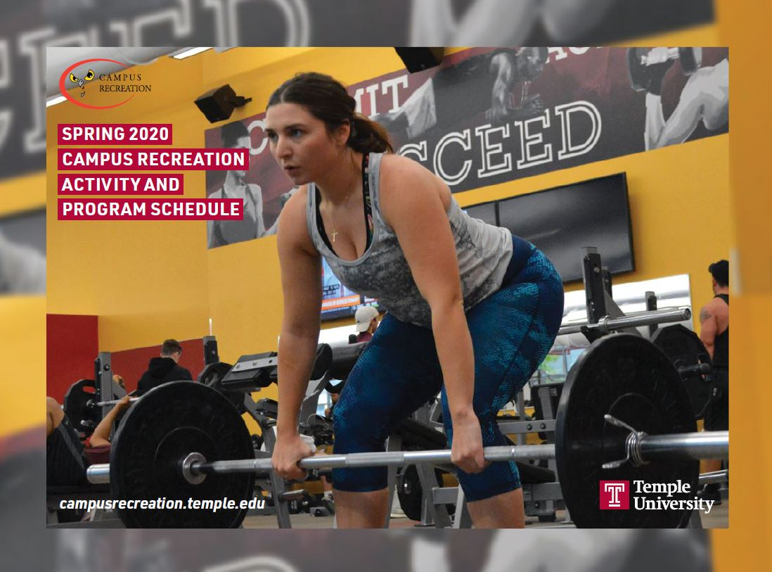 Cover of the Spring 2020 Campus Rec Calendar with a female student lifting a weighted barbell