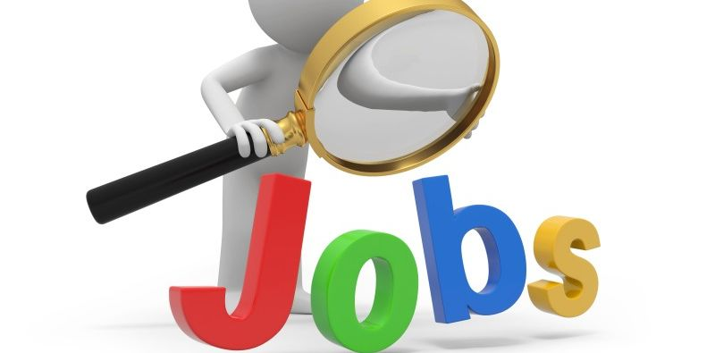 cartoon character looking thorugh magnifying glass at the word JOBS