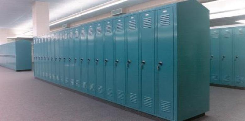 Blue lockers in a locker room