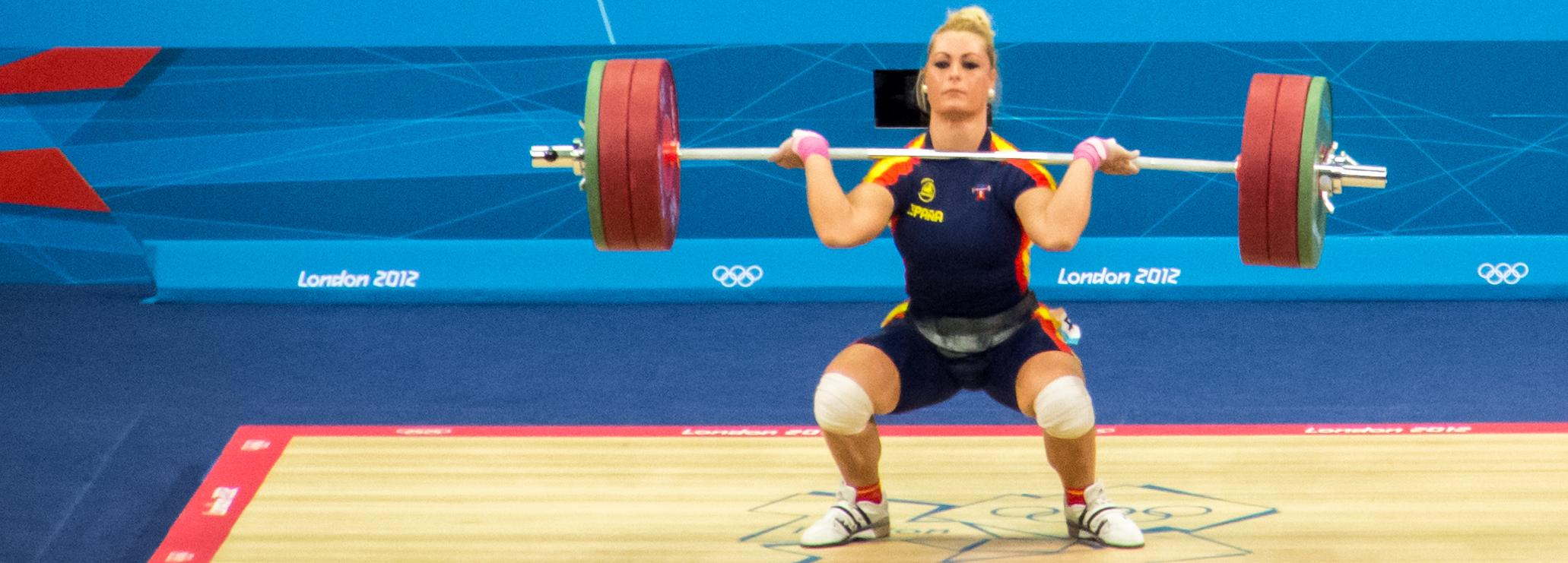 Woman taking part in Olympic lifting