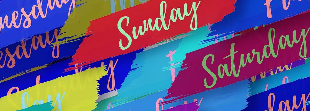 Days of the week written in colorful angular stripes