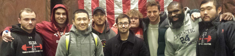 Temple University Powerlifting Club team picture.