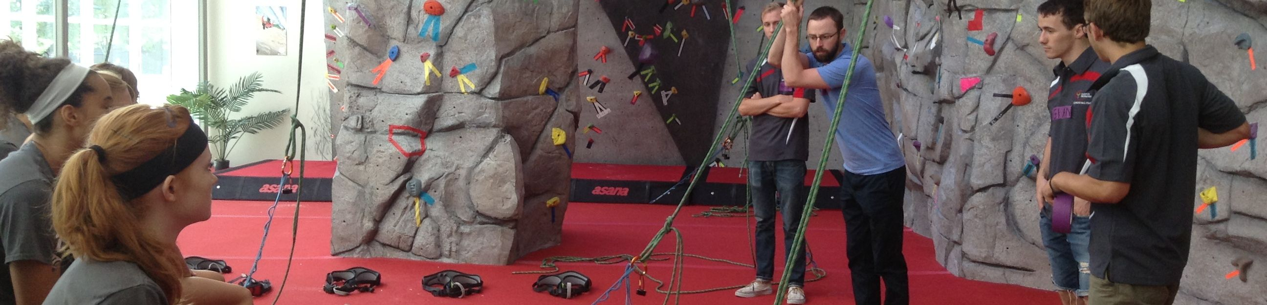 Interior of climbing Wall during a climbing clinic