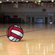 A shot of a volleyball sitting on the floor of the 3rd Floor Recreation Courts in Pearson and McGonigle Halls.