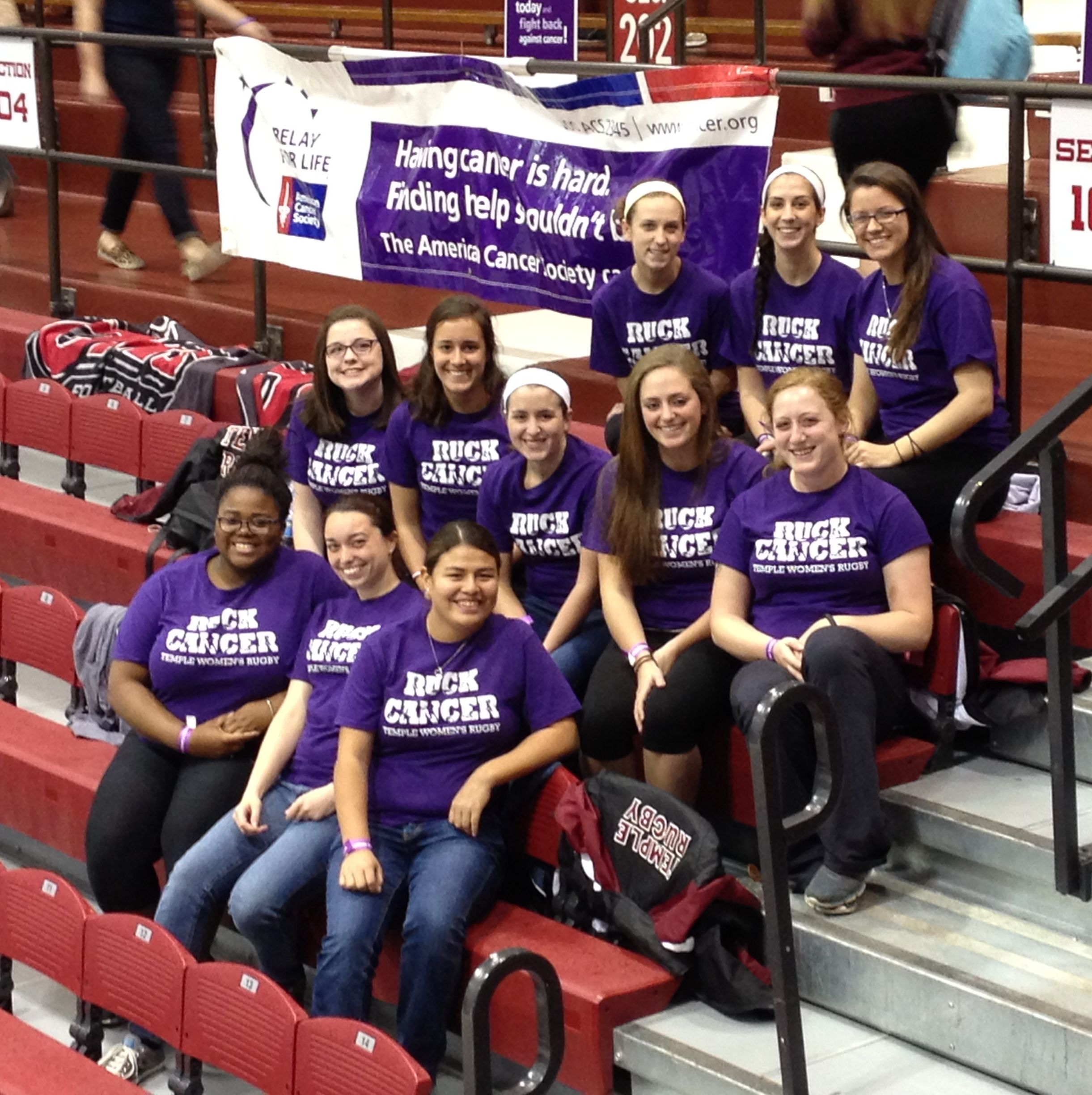 Temple University Women's Rugby Relay For Life team picture.