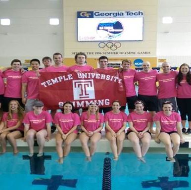 Temple University Swimming Club team picture.