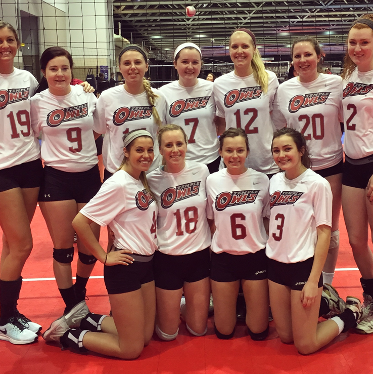 Temple University Women's Volleyball Club team picture.