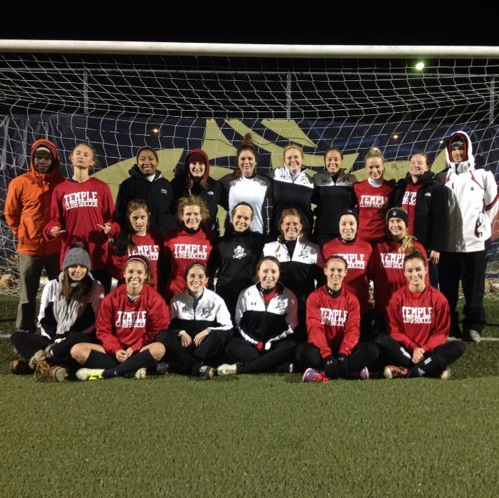 Temple University Women's Soccer Club team picture.